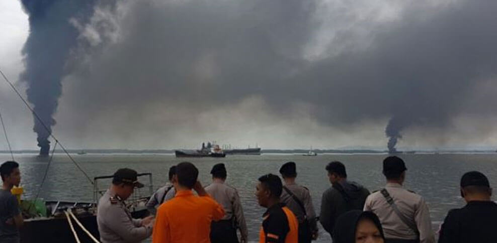 Oil spill cleanup fire kills two in Indonesia